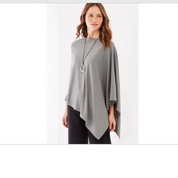 d8b57b6db J. Jill Sweaters   Jjill Heather Grey Asymmetrical Poncho Shawl ...